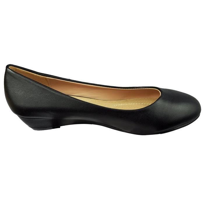 Slip On Ballet Wedge Flats Low Mid talon compensé Chaussures bateau Bellarina Chaussures plates DKS4U Taille-38 qbzYA5