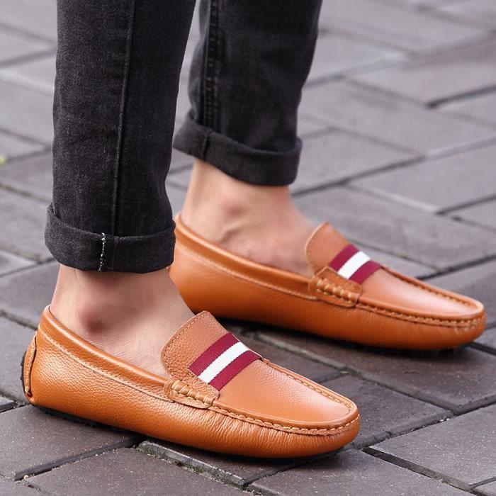 Chaussures Homme Bateau en cuir Chaussures de ville Chaussures plates Chaussures à la main confortables et légères Chaussures