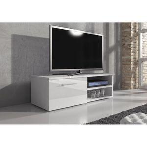 Meuble Tv Blanc Laque 120 Cm Achat Vente Pas Cher