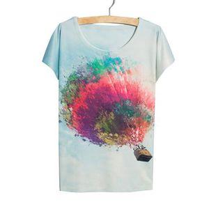 T-SHIRT Femme Fille Eté Tops de Loisir T-Shirts Impression