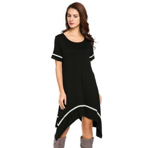 ROBE Robe femmes Casual O-cou manches courtes ourlet as