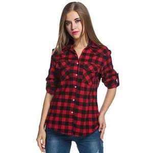 fefc2b730d6 CHEMISIER - BLOUSE Femmes Tartan Chemises à carreaux Flanelle Enroule ...