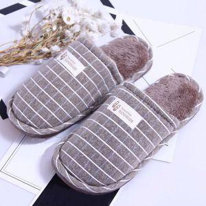 CHAUSSON - PANTOUFLE Hiver Stripe femmes intérieur chaud pantoufles Acc ... 6548e9c0d3cb
