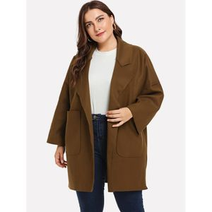 Manteau Femme Hiver Long Polyester Col Crante Camel Grande Taille