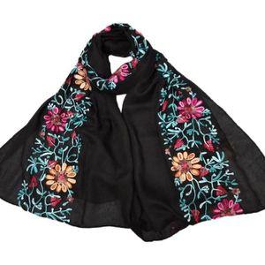 6dbf588e41b4a ECHARPE - FOULARD Fleur foulard brodé Coton Femmes Long Wrap Bandana
