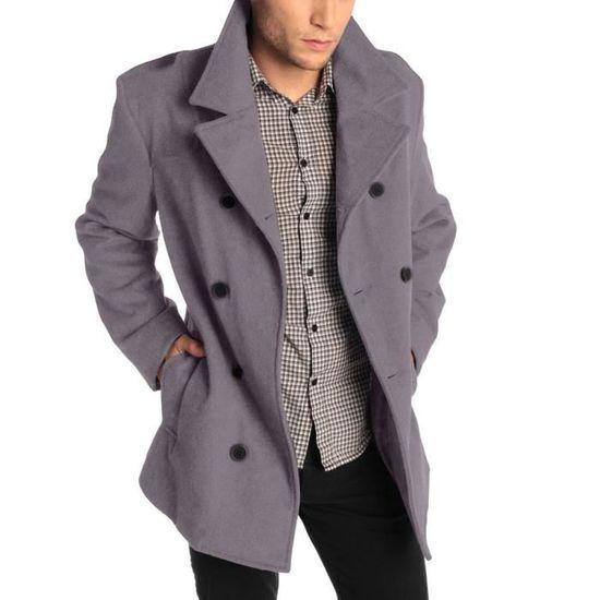 Button Chaud Homme mode2959 Manteaux Hiver Veste Trench Outwear Smart Pardessus Long q650f