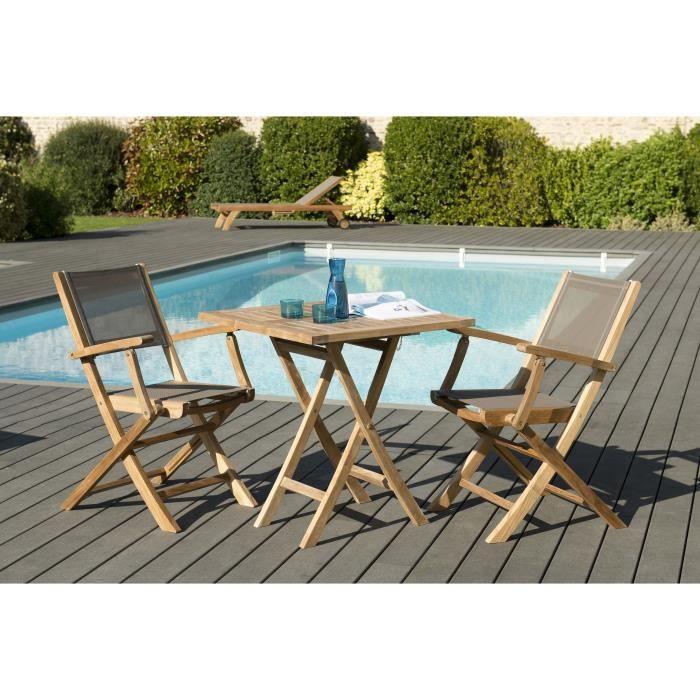 Table et chaises de jardin couleur taupe - Achat / Vente pas cher