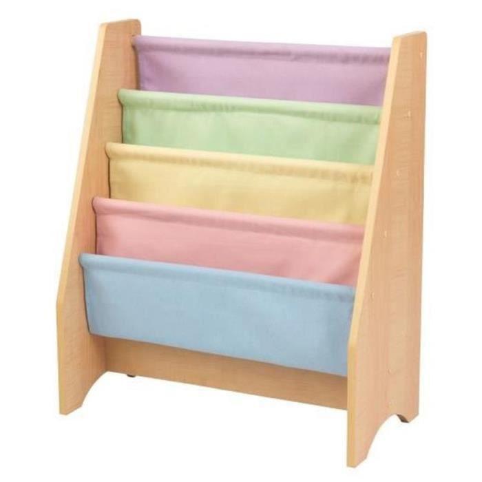 Bibliothèque en bois à compartiments couleurs pastel