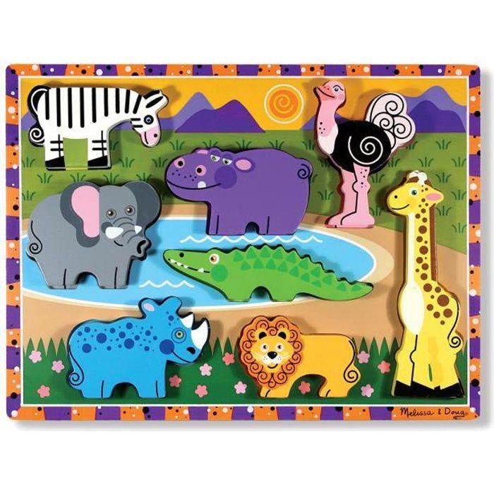 Puzzle à Grosses Pièces En Bois - Animaux De Safari - Garçon et Fille - A partir de 2 ans - Livré à l'unitéPUZZLE