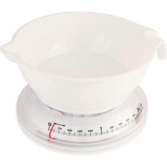 TERRAILLON Balance de cuisine mécanique T206 - 3 kg - Bol 3 L - Blanc