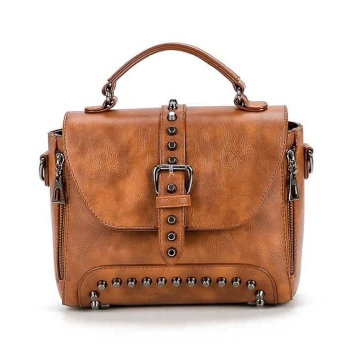 Sac à main en cuir vintage Pu Femme Messenger Bag Rivet Top-sacs poignée sac fourre-tout V49AC