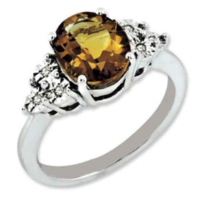 Argent sterling diamant brut et Whisky–Bague à quartz–Taille P 1/2–16