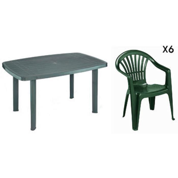Table rectangulaire verte + 6 fauteuils jardin plastique vert ...