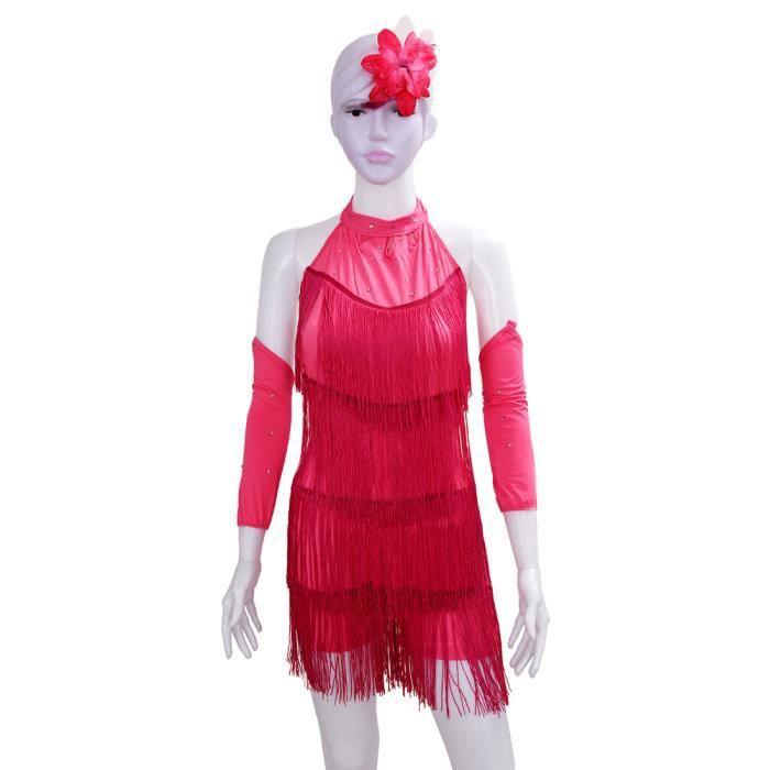 baf0aba5134dd jupe frangee pour danse latine convient aux petites filles de taille de  140cm Robe de bal costume de danse -rose rouge