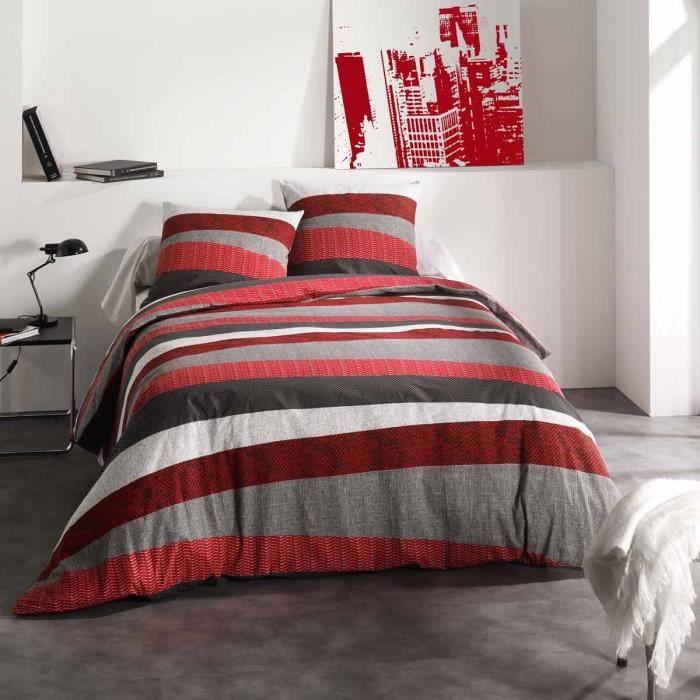 housse de couette taie tribeca rouge 200x200 cm achat vente parure de couette cdiscount. Black Bedroom Furniture Sets. Home Design Ideas