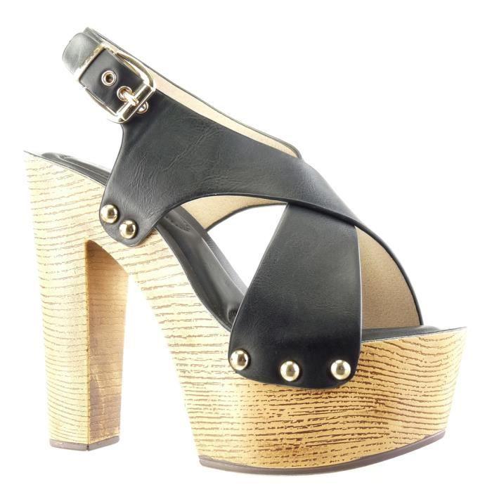 5edd2dabeba8f3 Angkorly - Chaussure Mode Sabot Sandale plateforme femme clouté ...