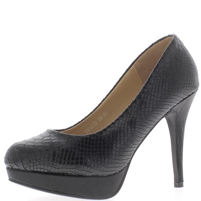 Escarpins grande taille noirs à talon de 12,5 cm et plateforme aspect écailles - Couleur:Noir Pointure: