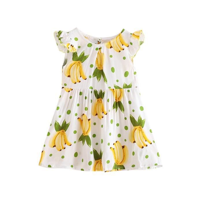 54e37553a84c4 Benjanies®Mignon Été Bébé Enfants Fille Bowknot Imprimer robe de Princesse  Fête Tutu Jaune_CQQ80312343YE