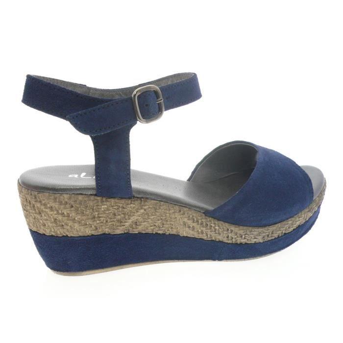 Aliwell Sandale femme nuPieds crée par  couleur marine Bleu - Chaussures Sandale Femme
