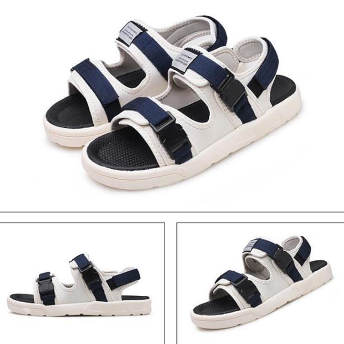 Pieds Homme 2019 Chaussures Nouveau Velcro Plage Blanc Sandales Nu Bleu Toile wOkiXPuTlZ