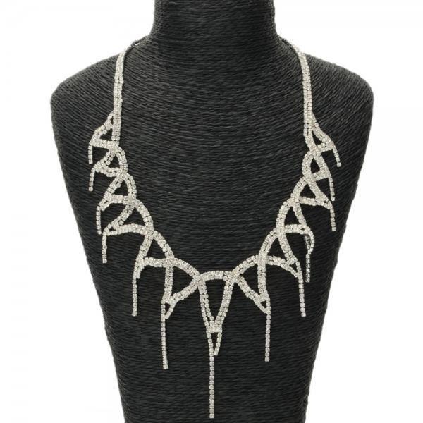 Élégant strass collier trilatérale Goutte boucles doreilles bijoux de mariée Set Argent
