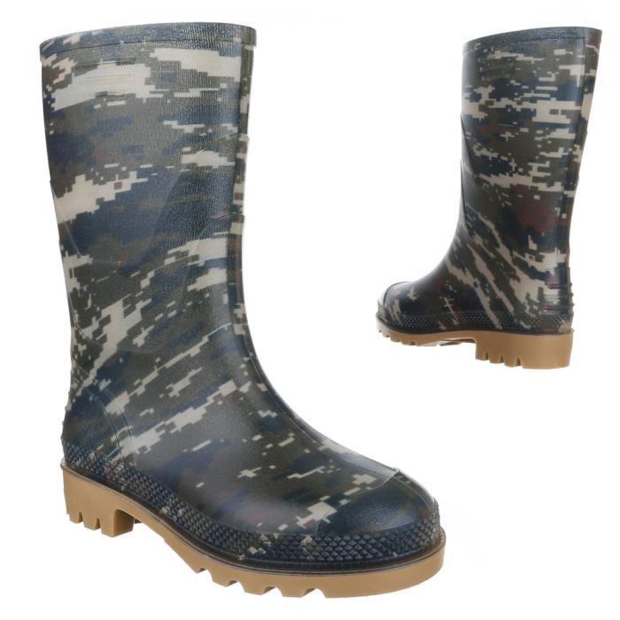 Chaussures pour enfants botte fille jeune caoutchouc chaussures de pluie kaki 34