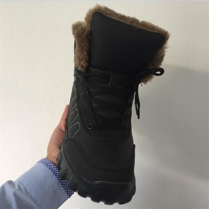 Bottes de neige hommes Hiver plus cachemire chaud Botte en plein air Caoutchouc Antidérapant Chaussure Confortable Taille 38-49 ucmMV7