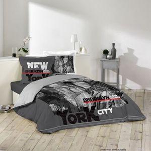 housse de couette new york coton 200x200 achat vente housse de couette new york coton. Black Bedroom Furniture Sets. Home Design Ideas