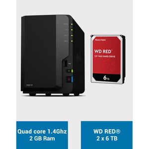 SERVEUR STOCKAGE - NAS  Synology DS218 WD RED 12To