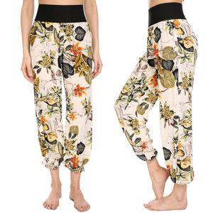 41051f8c7a9 Pantalons femmes taille élastique imprimé Floral Sarouel Bloomers ...