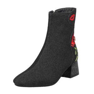Chaussures Femmes talon haut à glissière latérale bottes courtes rétro  broderie Mesdames bottillons BL090804112590 b5387ccdfdbb