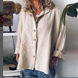 Bouton femme Hauts Lin Coton Mode à manches longues courtes T shirt pour femmes Chemisier Kaki
