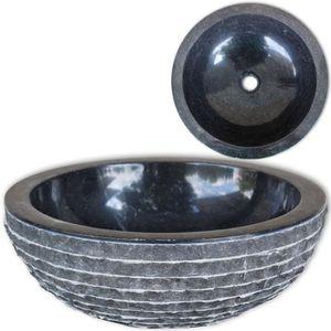 LAVABO - VASQUE Lavabo en marbre 40 cm Noir Lavabo ronde Lavabo à