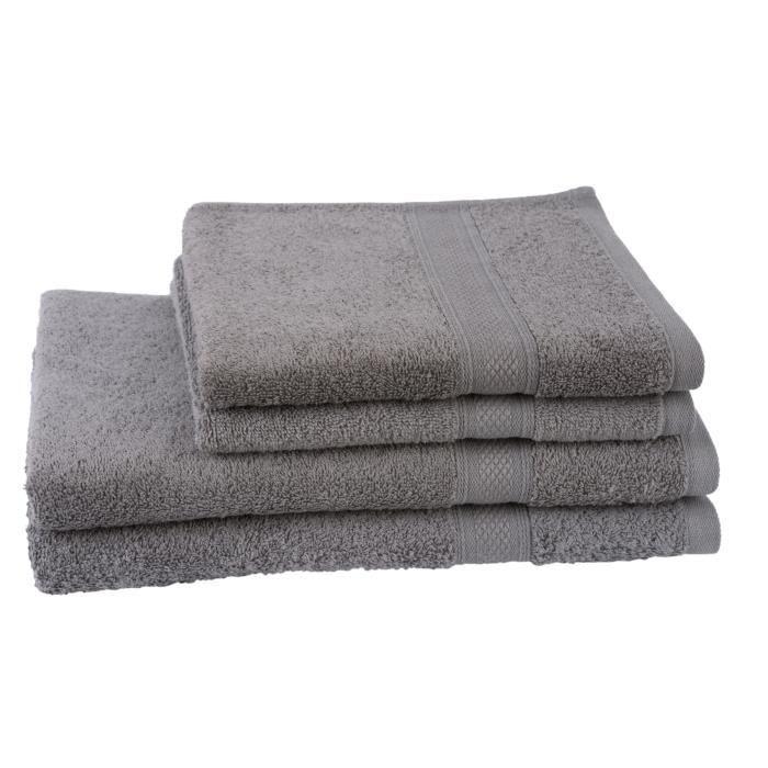 JULES CLARYSSE Lot de 2 serviettes + 2 draps de bain Élégance - Gris