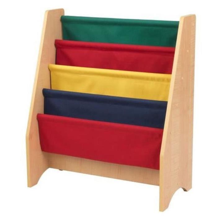 KIDKRAFT Bibliothèque en bois à compartiments couleurs primaires
