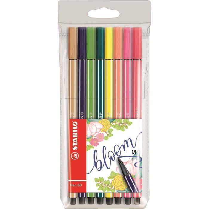 STABILO 8 feutres de dessin Pen 68 Living colors - Décor floral