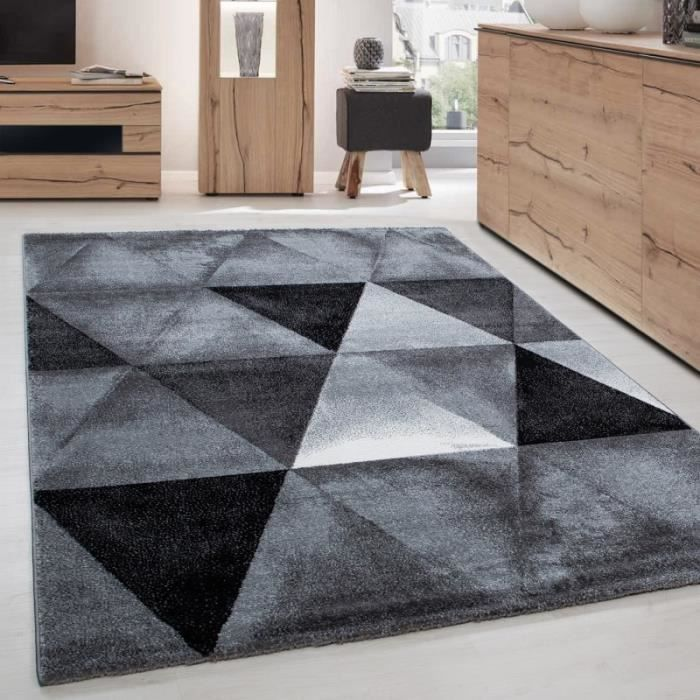 Tapis de salon moderne designe courte pile optique triangle Noir ...