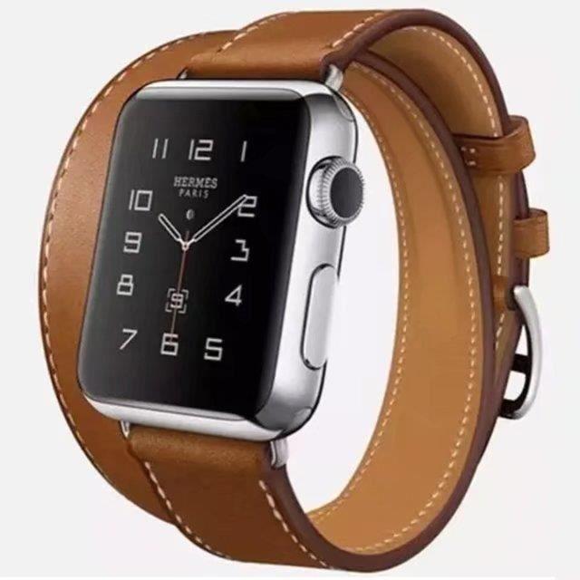 8fc4b46ceb9 Apple Watch Bracelet De Montre Hermès Double Cercle Leather Bande 42mm  Marron