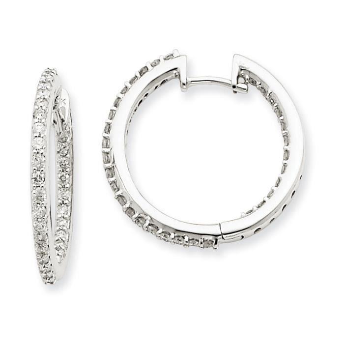 Or blanc 14 carats-Diamant Boucles dOreilles Créoles
