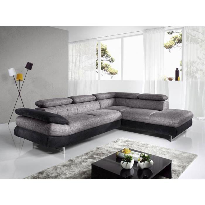 Canapé d\'angle gris chiné et noir en PU et tissu ESTEBAN 5 angle à ...