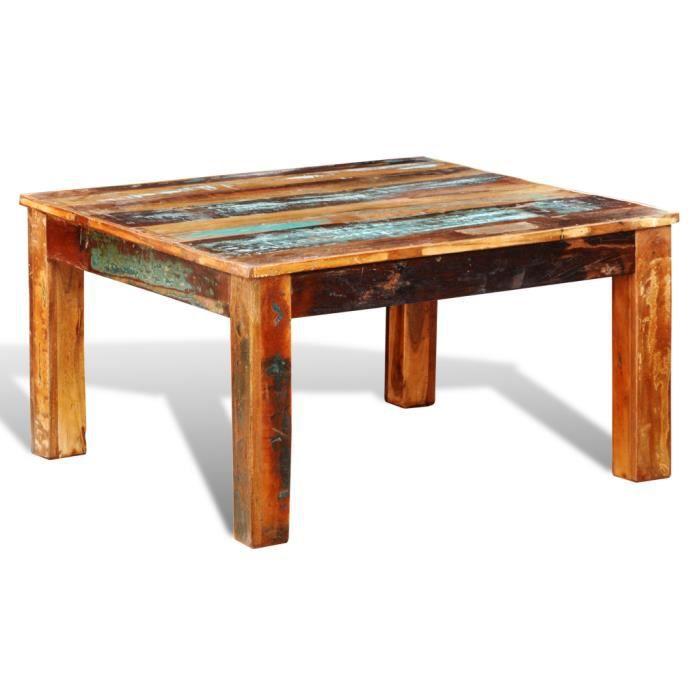 Table Basse Ancienne Vintage Carrée En Bois Naturel Unique Légèrement  Différent Pour Salon Durable
