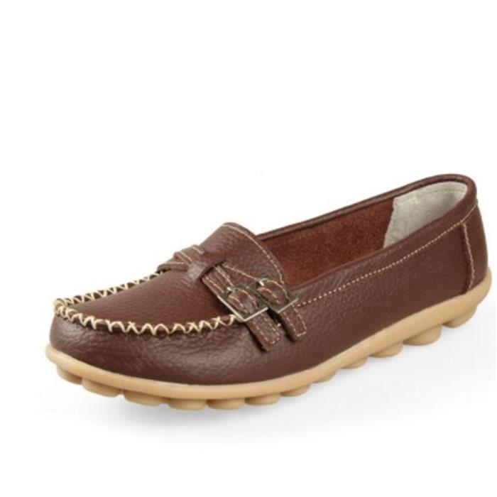 Chaussures femme En Cuir Haut qualité Moccasin Marque De Luxe Loafer femme Cuir Grande a1IkaVi0EP