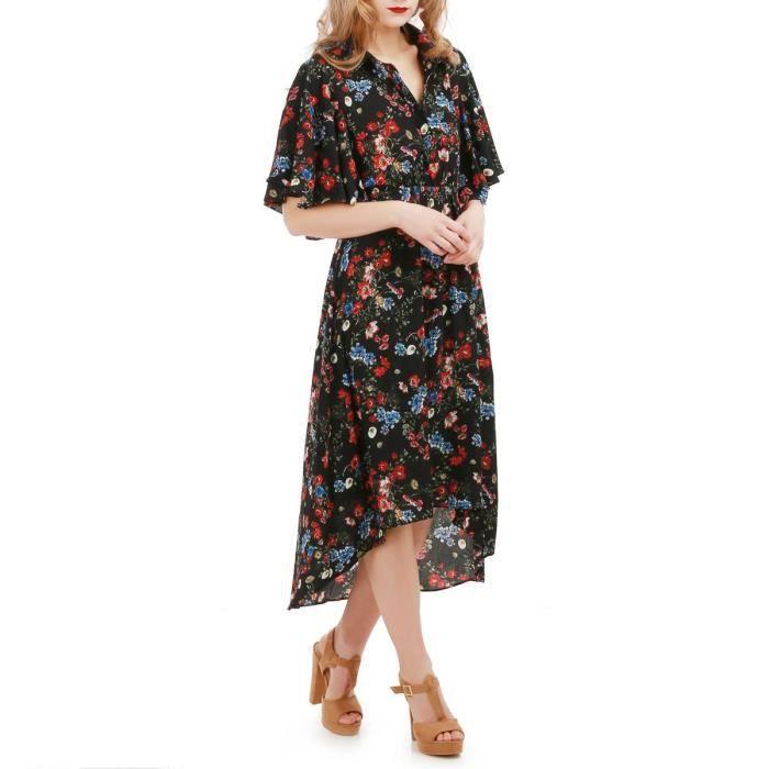 Robe longue noire imprimé fleurs-S/M