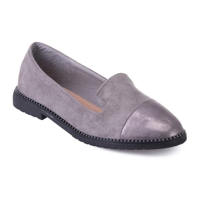 MOCASSIN Slippers gris en suédine et bout scintillant
