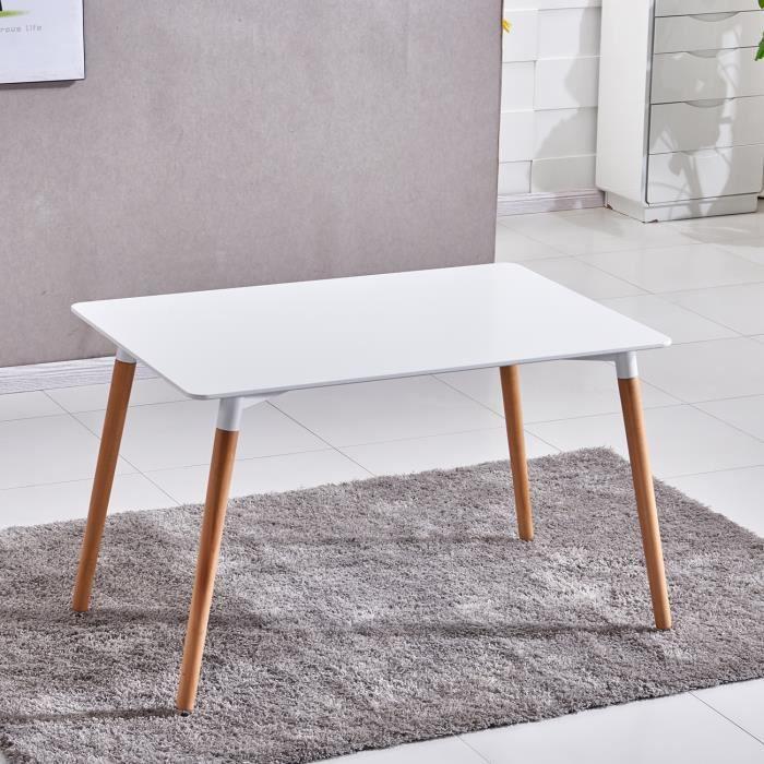 table blanche pied bois achat vente table blanche pied bois pas cher soldes d s le 10. Black Bedroom Furniture Sets. Home Design Ideas