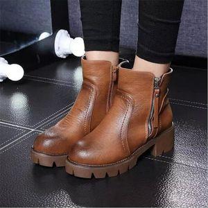 Bottines Femmes Automne Hiver talon épais en cuir bottes WYS-XZ019Noir37 2IRSC
