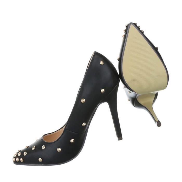 Femme escarpin chaussures Élégant High Heels rivet clouté High Heels noir 41