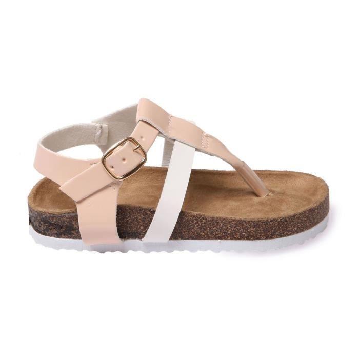 La Modeuse - Sandales plates type nu-pieds avec bride ajustable au niveau de la cheville