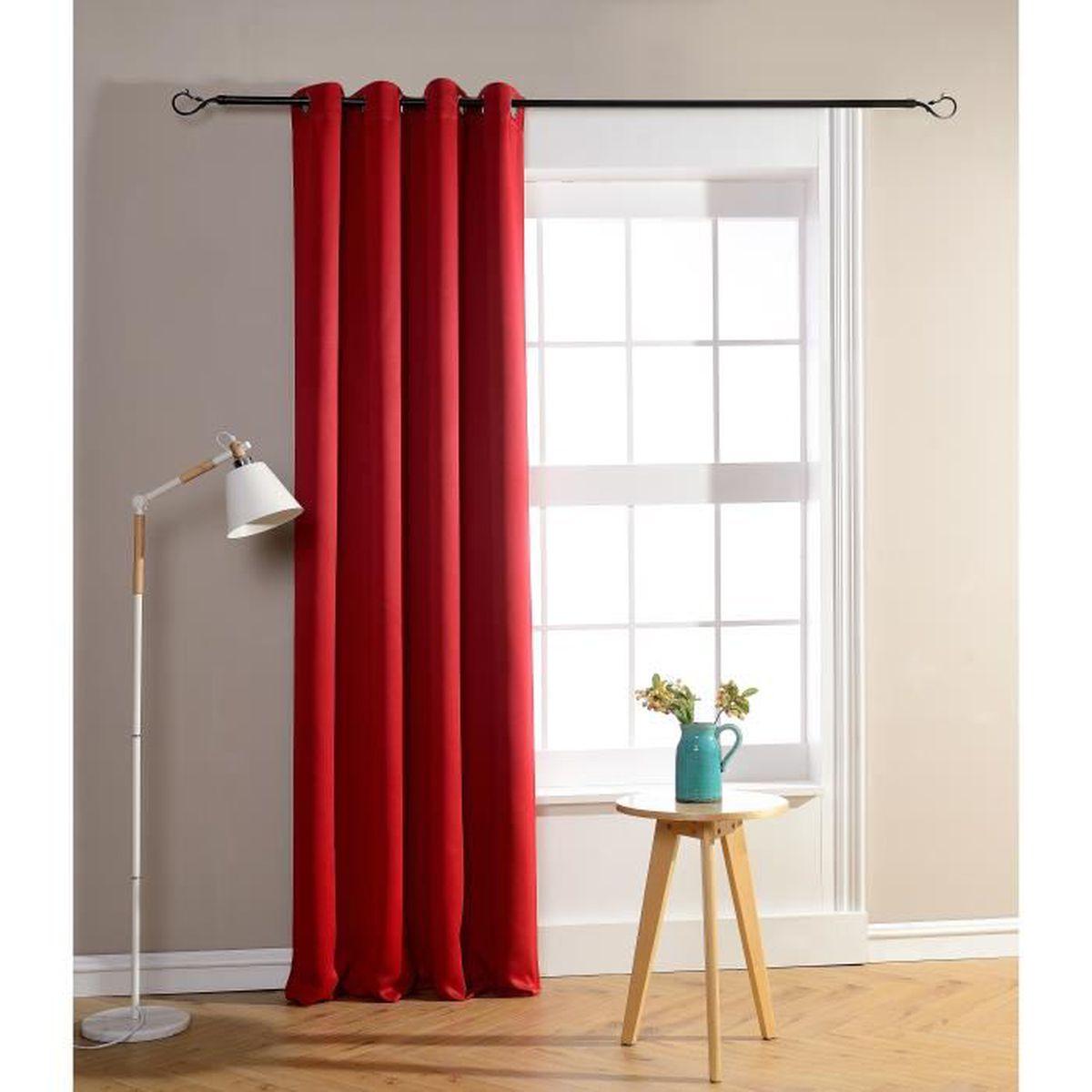 RIDEAU Rideau occultant et obscurcissant rouge 140 x 260
