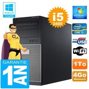 UNITÉ CENTRALE + ÉCRAN PC Tour DELL 7010 Core I5-2400 Ram 4Go Disque 1 To
